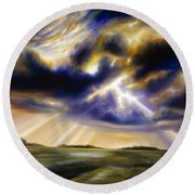 Iowa Storms Round Beach Towel