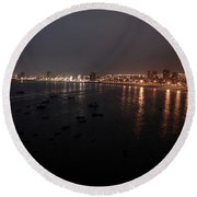 Iquique Harbor Chile Round Beach Towel