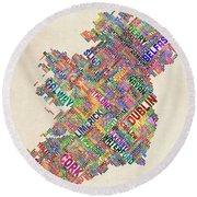 Ireland Eire City Text Map Derry Version Round Beach Towel