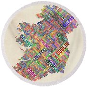 Ireland Eire City Text Map Derry Version Round Beach Towel