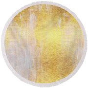 Iridescent Abstract Non Objective Golden Painting Round Beach Towel