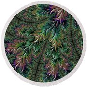 Iridescent Feathers Round Beach Towel