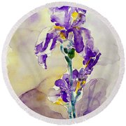Round Beach Towel featuring the painting Iris 2 by Jasna Dragun
