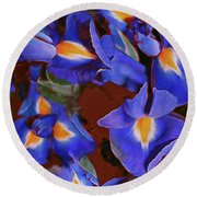 Iris Abandon 15 Round Beach Towel by Lynda Lehmann