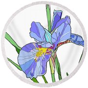 Iris And Bud Round Beach Towel