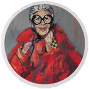 Round Beach Towel featuring the painting Iris Apfel Style Icon by Nop Briex