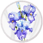 Iris Blooms Round Beach Towel