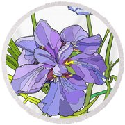 Iris Blossoms Round Beach Towel