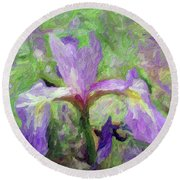 Iris Round Beach Towel by Don Wright