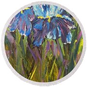 Round Beach Towel featuring the painting Iris Floral Garden by Claire Bull