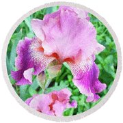 Iris Flower Photograph I Round Beach Towel