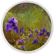 Iris Garden Round Beach Towel by Jeff Burgess
