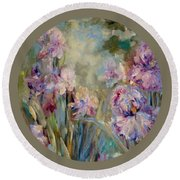 Round Beach Towel featuring the painting Iris Garden by Mary Wolf