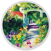 Iris Garden Walkway   Round Beach Towel