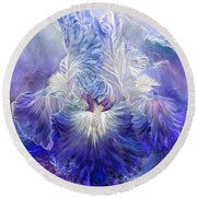 Round Beach Towel featuring the mixed media Iris - Goddess Of The Sea by Carol Cavalaris
