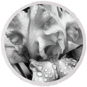 Round Beach Towel featuring the digital art Iris In Black And White by Bonnie Willis