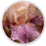 Iris In The Rain Round Beach Towel by Bonnie Willis