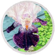Iris In The Spring Rain Round Beach Towel