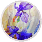 Round Beach Towel featuring the painting Iris by Jasna Dragun