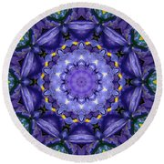 Iris Kaleidoscope Round Beach Towel