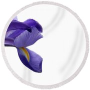 Round Beach Towel featuring the photograph Iris by Marie Leslie