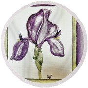 Round Beach Towel featuring the painting Iris Painted In Purple by Marsha Heiken