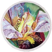 Iris Passion 1993 Round Beach Towel