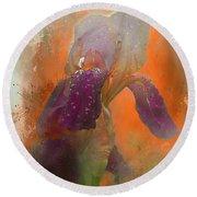 Round Beach Towel featuring the digital art Iris Resubmit by Jeff Burgess