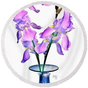 Iris Still Life In A Vase Round Beach Towel by Marsha Heiken