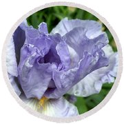 Iris Up Close Round Beach Towel