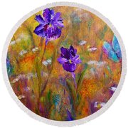 Iris Wildflowers And Butterfly Round Beach Towel by Claire Bull