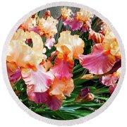 Irises 24 Round Beach Towel