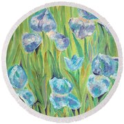 Round Beach Towel featuring the painting Irises by Elizabeth Lock