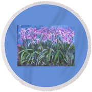 Round Beach Towel featuring the painting Irises En Mass by Betty Pieper