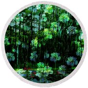 Irises Falling From A Southern Sky  Round Beach Towel