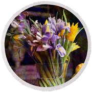 Irises In A Glass Round Beach Towel