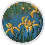 Round Beach Towel featuring the painting Irises by Jamie Frier