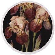 Irises Round Beach Towel by Jenny Barron