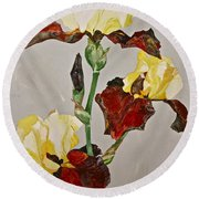 Irises-posthumously Presented Paintings Of Sachi Spohn  Round Beach Towel