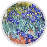 Round Beach Towel featuring the painting Irises by Van Gogh
