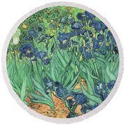 Irises Round Beach Towel by Vincent Van Gogh