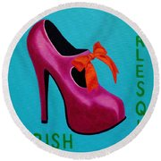 Irish Burlesque Shoe    Round Beach Towel by John  Nolan