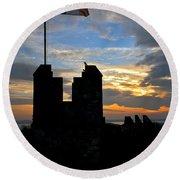 Irish Sunset Over Ramparts 1 Round Beach Towel