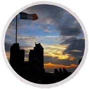 Irish Sunset Over Ramparts 2 Round Beach Towel
