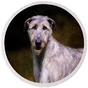 Irish Wolfhound Portrait Round Beach Towel