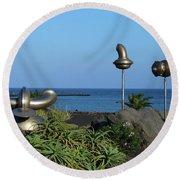 Iron Art By The Sea Round Beach Towel