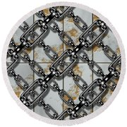 Iron Chains With Rusty Metal Panels Seamless Texture Round Beach Towel