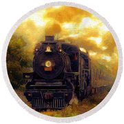 Round Beach Towel featuring the photograph Iron Horse by Aaron Berg