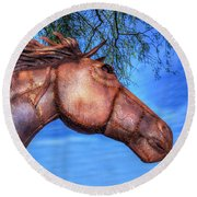 Round Beach Towel featuring the photograph Iron Horse by Paul Wear