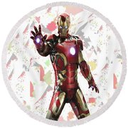 Round Beach Towel featuring the mixed media Iron Man Splash Super Hero Series by Movie Poster Prints